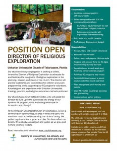 Click here for more information on the Director of Religious Exploration (DRE) position