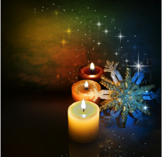 Sparkling multicolored candles and snowflakes